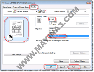 Canon 3800 LIPS Printing Preferences Quality